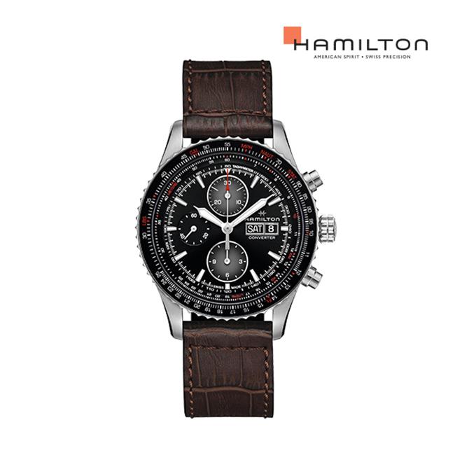 [공식]해밀턴 H76726530 카키 파일럿 컨버터 오토 크로노 44mm 가죽 남성 시계