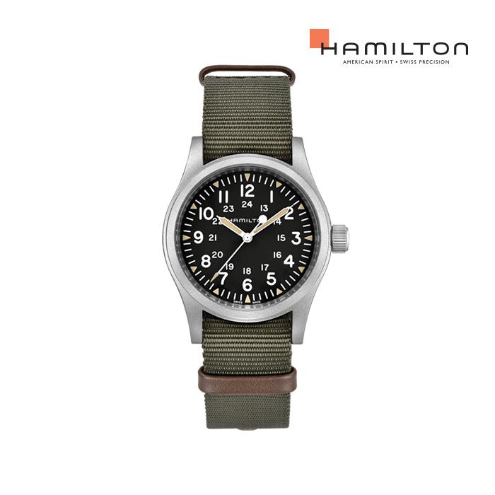 [공식]해밀턴 H69439931 카키 필드 메카니컬 38mm 다크 다이얼 카키 나토 스트랩 남성 시계