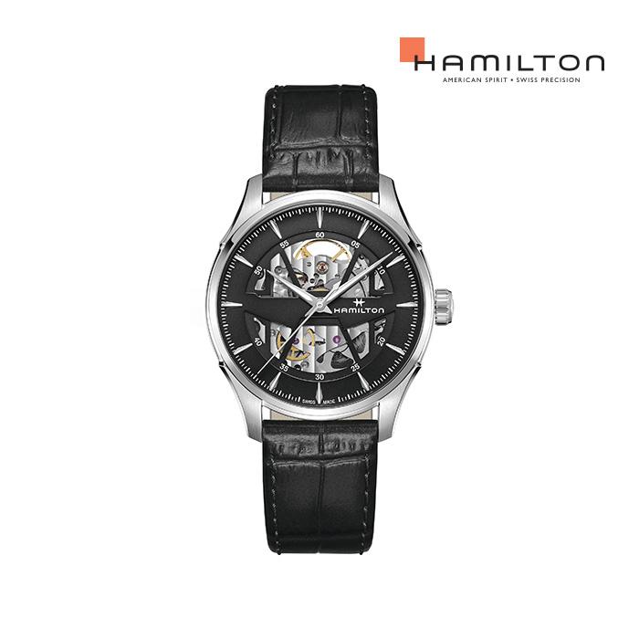 [공식] 해밀턴 H42535780 재즈마스터 스켈레톤 오토 40mm 가죽 남성 시계