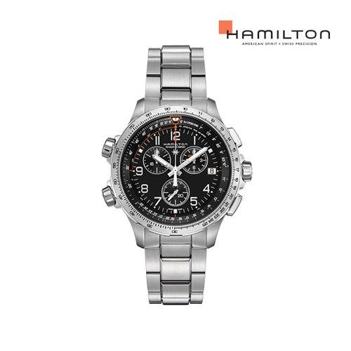 [공식] 해밀턴 H77912135 카키 엑스윈드 GMT 크로노 쿼츠 46mm 블랙 메탈 남성 시계