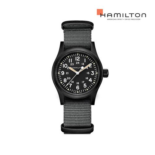[공식]해밀턴 H69409930 카키 필드 메커니컬 38mm PVD 블랙 다이얼 그레이 나토 스트랩 남성 시계 (기계식)