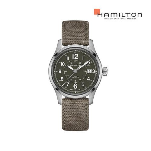 [공식] 해밀턴 H70595963 카키 필드 오토 40mm 그린 캔버스 남성 시계