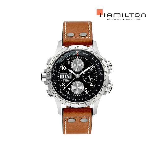 [공식] 해밀턴 H77616533 카키 엑스윈드 오토크로노 44mm 블랙 가죽 남성 시계