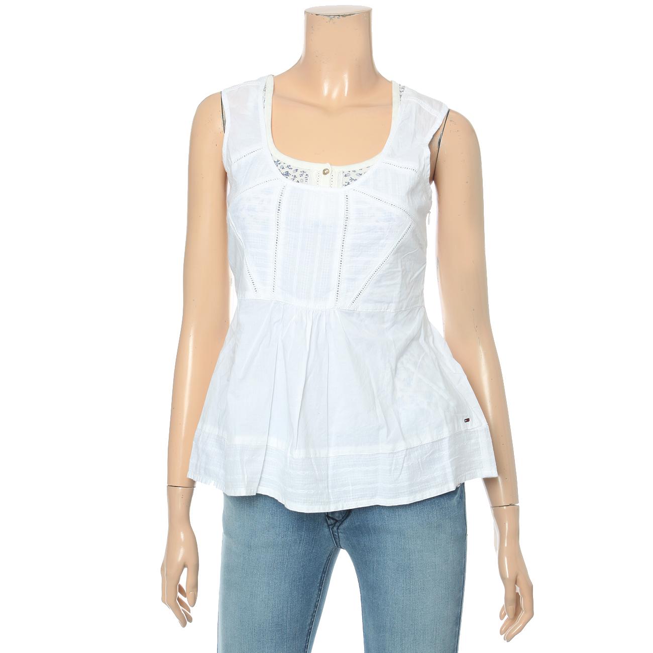 *[여]화이트 민소매 셔츠(EUN2HC35A)